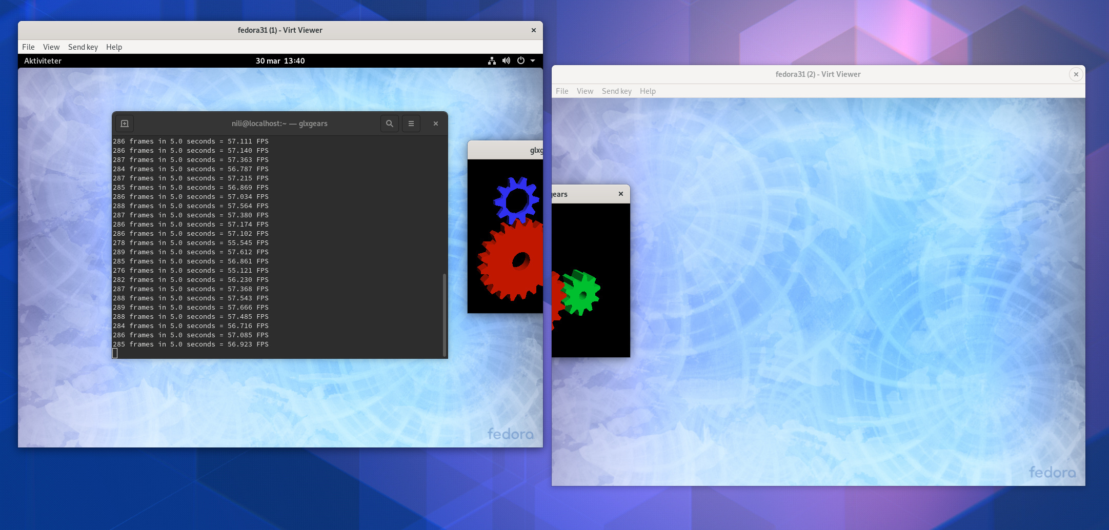Dual Screen GLXGears